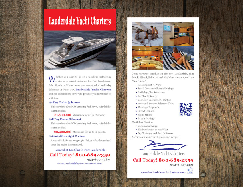 Rack Card for Lauderdale Yacht Charters