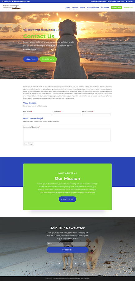 Sample Contact page - nonProfit Divi Child Theme