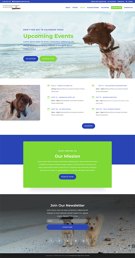 Sample Events page - nonProfit Divi Child Theme