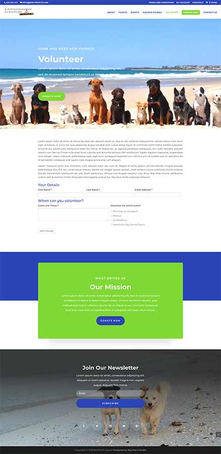Sample Volunteer page - nonProfit Divi Child Theme