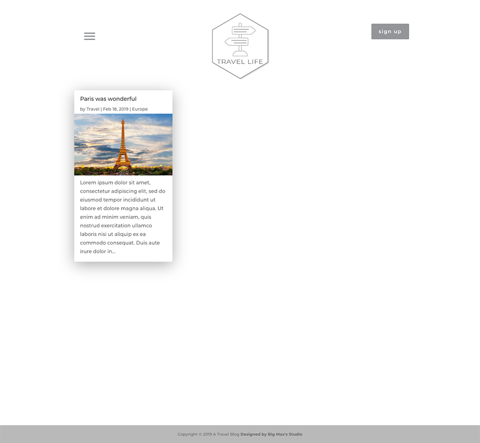 Sample Category/Archive page - Travel Divi Child Theme