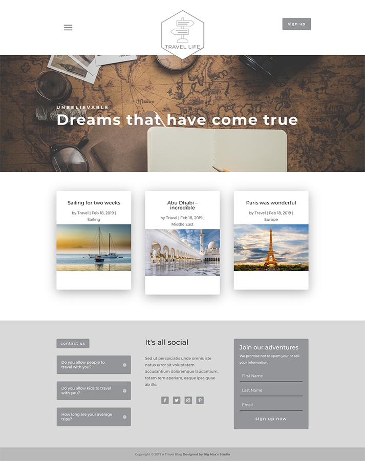 Sample Blog page - Travel Divi Child Theme