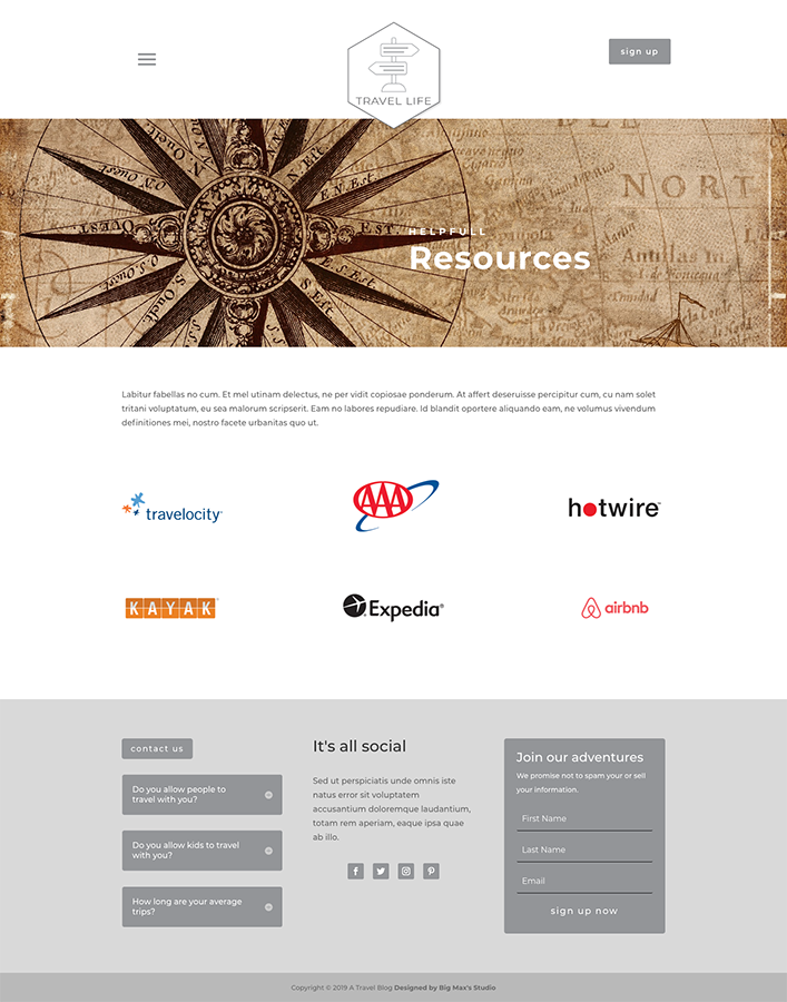Sample Resources page - Travel Divi Child Theme