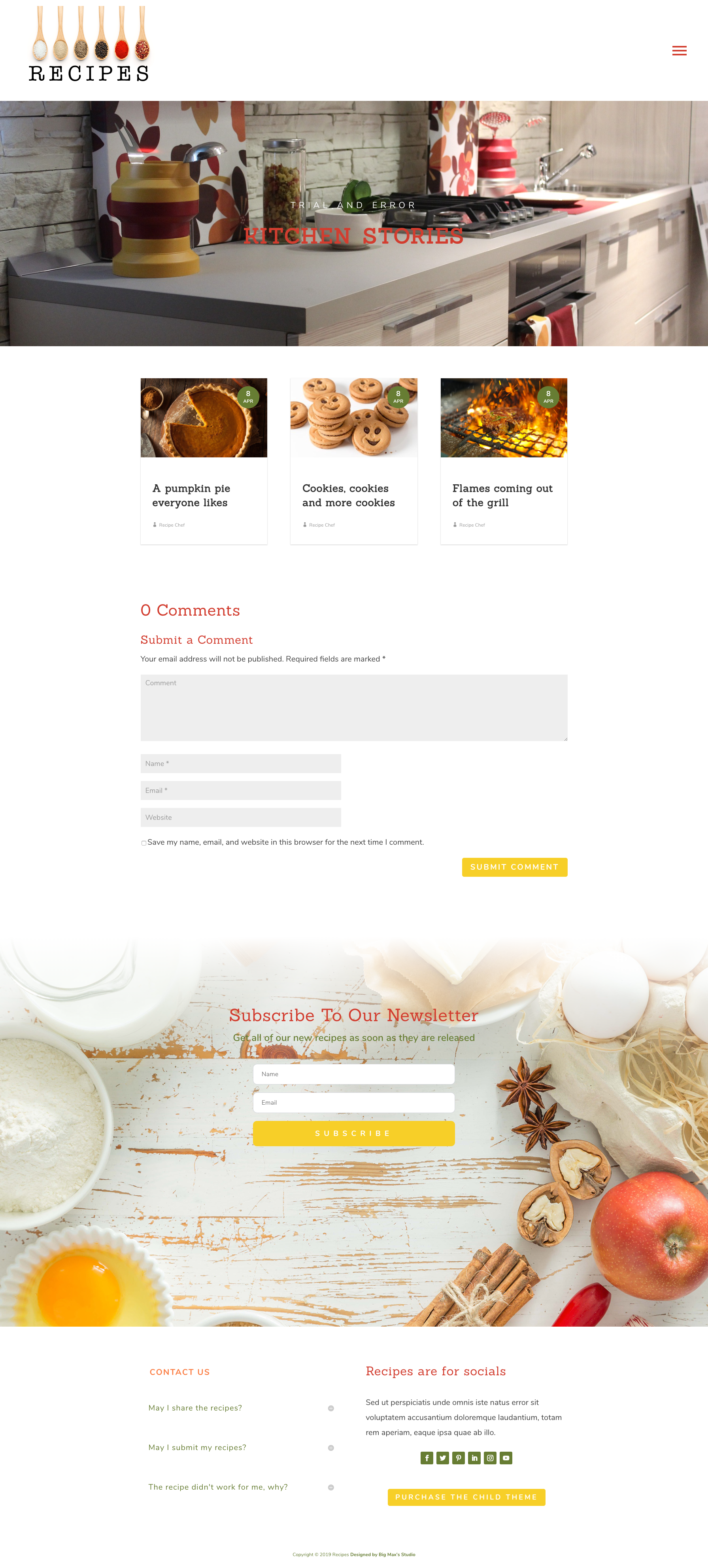 Sample of the blog page for Recipes Divi Child Theme
