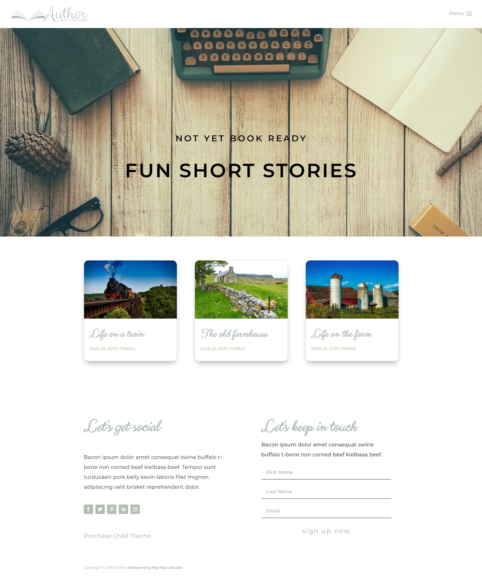 Sample Blog page - Author Divi Child Theme