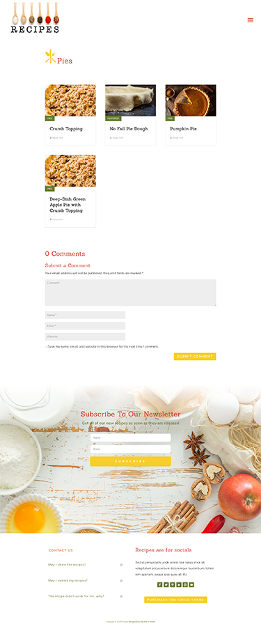 Sample of the Category/Archive Pages for Recipes Divi Child Theme