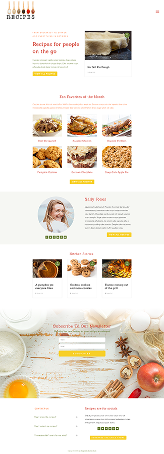 Sample of the Homepage for Recipes Divi Child Theme