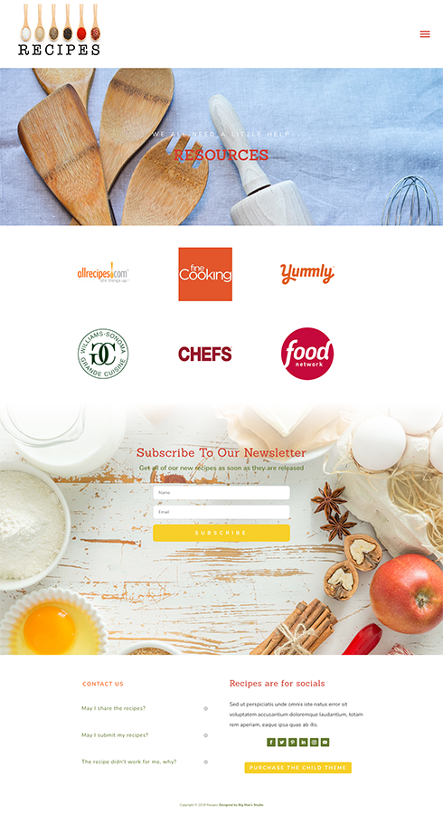 Sample Resource Page for Recipes Divi Child Theme
