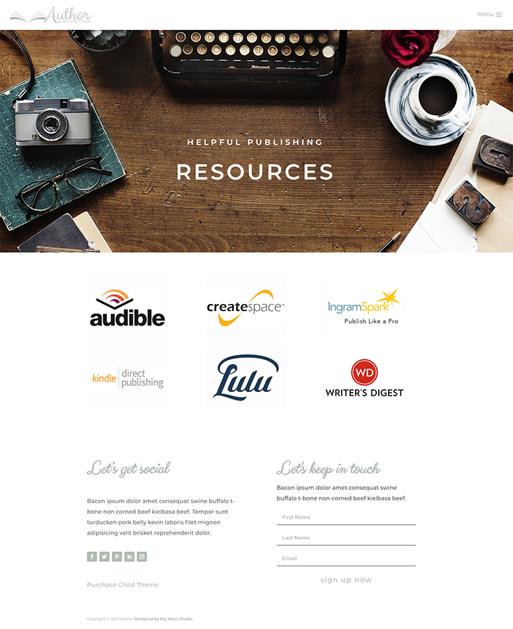 Sample Resource page - Author Divi Child Theme