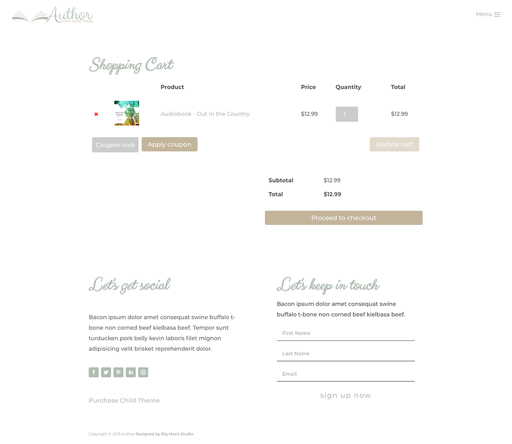 Sample Shopping Cart page - Author Divi Child Theme